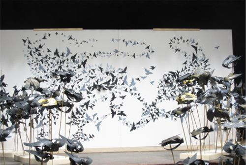 2D and 3D birds in a murmuration. Mary-Jane Walker 1